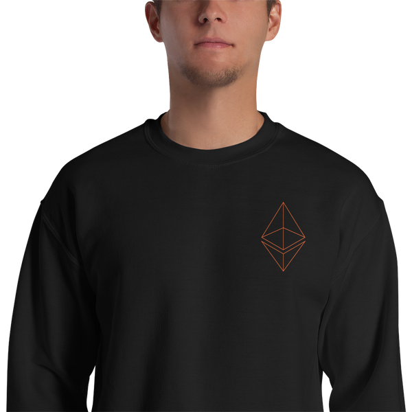 Ethereum line design - Men's Embroidered Crewneck Sweatshirt