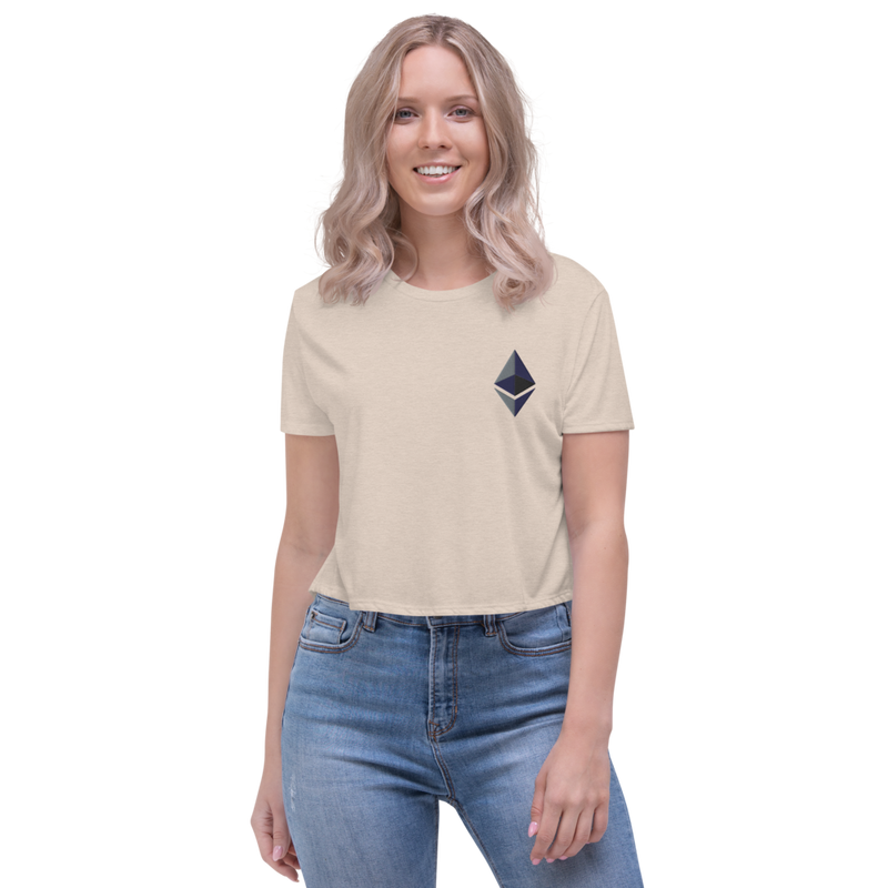 Ethereum logo - Women's Embroidered Crop Tee