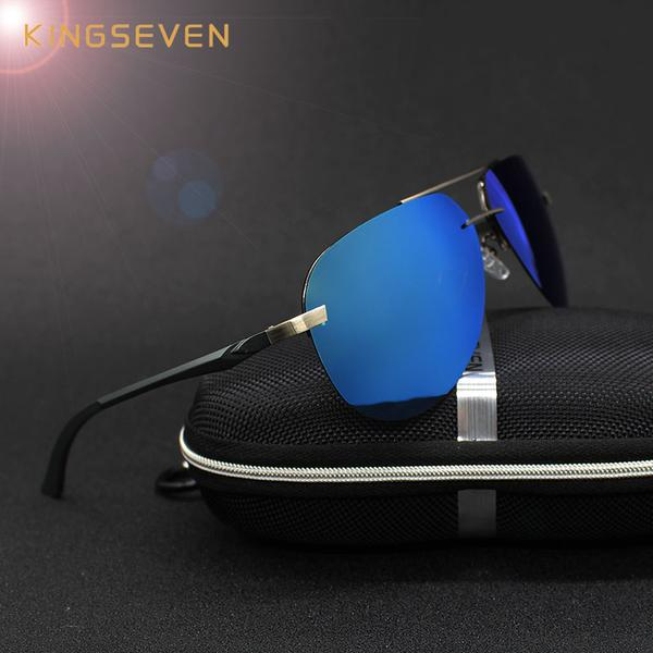 Aluminum Magnesium aviator sunglasses with polarized mirror lenses