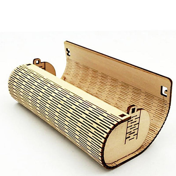 Retro Handmade Natural Bamboo Cylinder Glasses Case