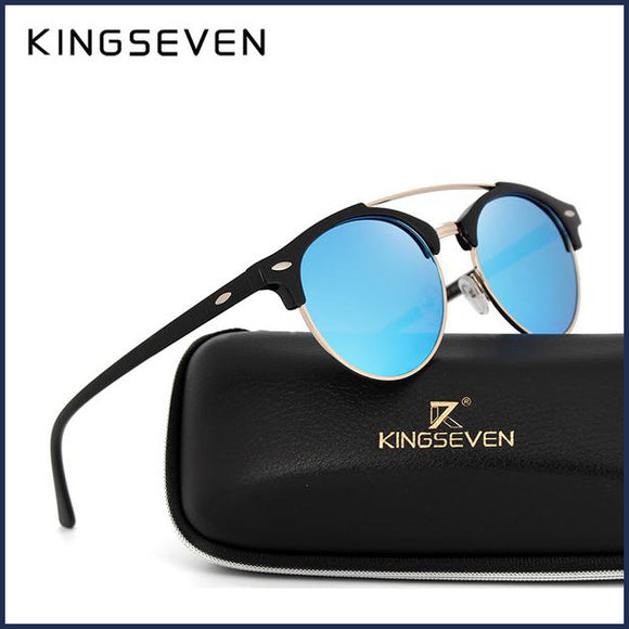 N7346 Retro Rivet Mirrored Round Sunglasses