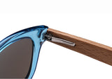 Transparent Wood Framed Classics w/ Mirrored Lenses