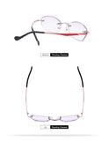 Purple Lensed Rimless Rhinestone Reading Glasses
