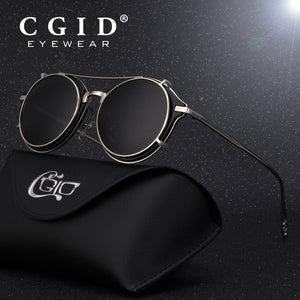 CGID Men Polarized Sunglasses Round Steampunk Shades Brand Designer Sun Glass Vintage Metal Sunglass E76