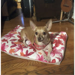 Playful Pink Floral Print Pet Bed Cover.  Free matching Face Mask.