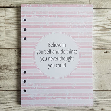 Believe in Yourself 6 Months Maintenance Diary Inserts