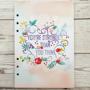 You're stronger than you think 8 and 12 Week Organiser Refill