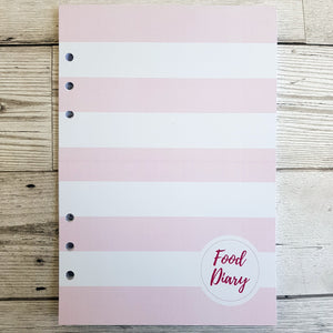 Pink Solid Stripes 12 Week Food and Daily Life Diary Refills
