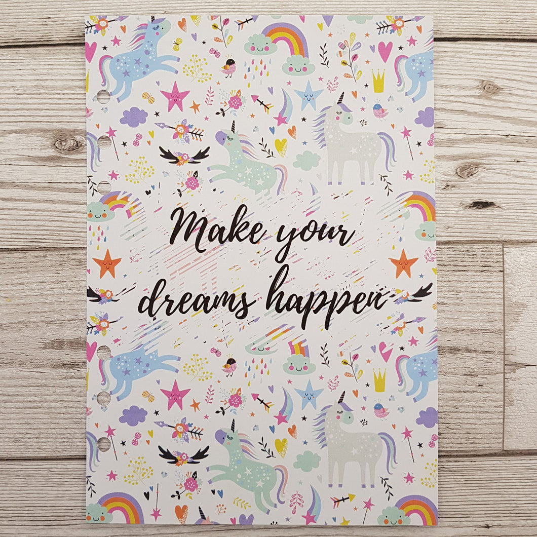 Make Your Dreams Happen 6 Months Maintenance Diary Inserts