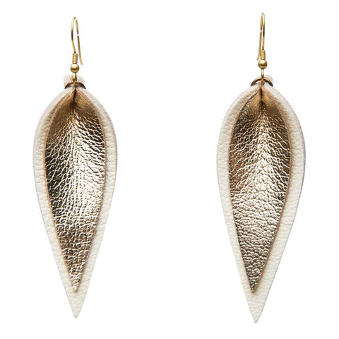 ZIA DOUBLE LEATHER LEAF EARRINGS // GOLD ON WHITE