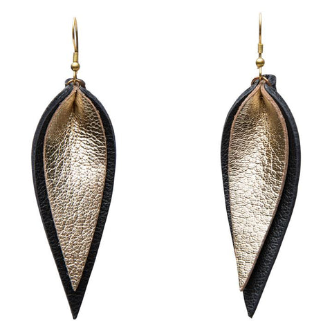 ZIA DOUBLE LEATHER LEAF EARRINGS // GOLD ON BLACK