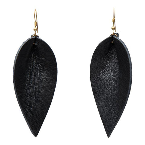 ZIA LEATHER LEAF EARRINGS // BLACK
