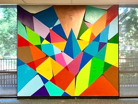 image of indoor Austin murals with geometric design