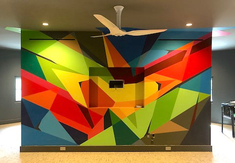image of indoor Austin mural geometric