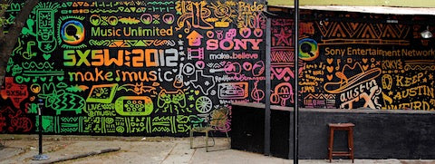 image of sxsw sony austin mural outdoor event