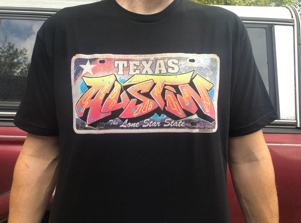 "Limited Edition ""Austin"" Texas license plate T shirt"