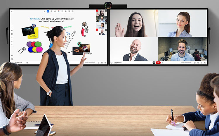 woman in video conference meeting with other eployees