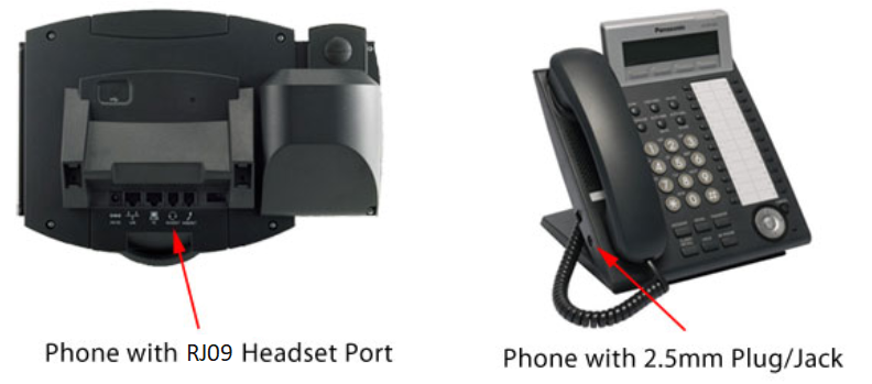 VoIP phones connected to wired headsets via headset port found usually in phone rear