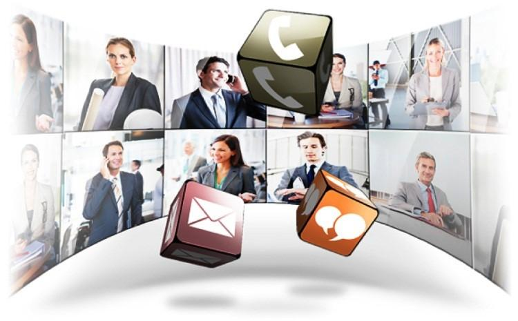 a group of employees using unified communications