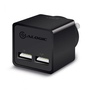 ALOGIC 17W  2 Port USB Mini Wall Charger 2.4A + 1A  BLACK