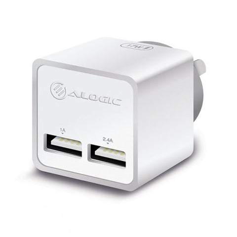 ALOGIC 2 Port USB Mini Wall Charger 2.4A + 1A  17W  WHITE WC2A17MWH
