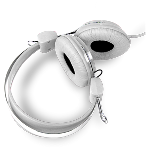 Laser Headphones Stereo Kids Friendly Colourful White AO-HEADK-WT