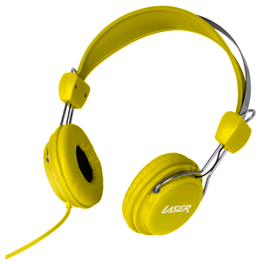 Laser Headphones Stereo Kids Friendly Colourful Yellow AO-HEADK-YE
