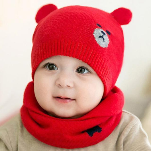 7f741e157e5c 2 Piece Baby Knitted Bear Hat and Scarf Set – Tipsy Toddlers
