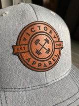 VA Leather Patch Trucker Hat (Heather Grey/Black)-Victory Apparel, Inc.