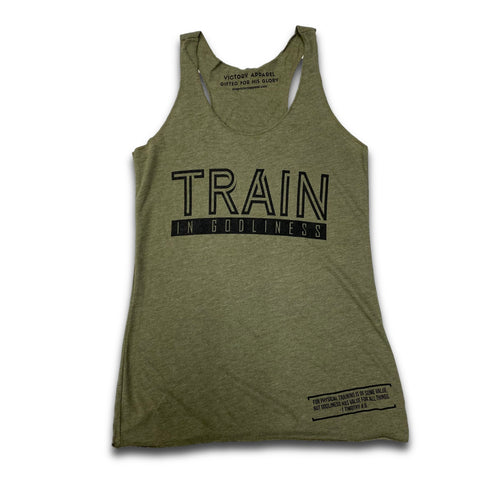 Train in Godliness Women's Tank (Military Green) | Victory Apparel, Inc.