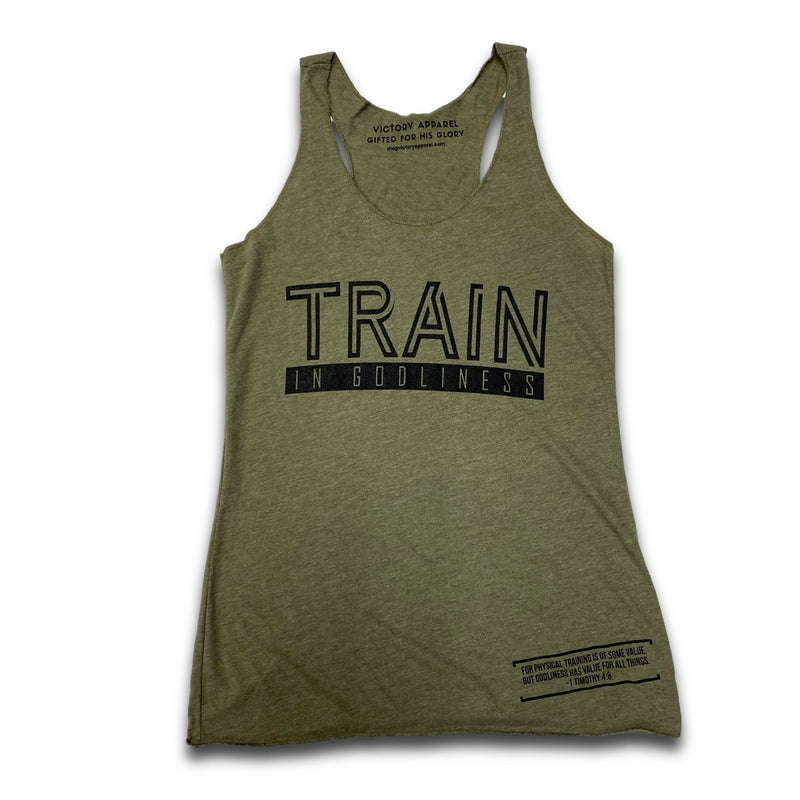 Train in Godliness Women's Tank (Military Green)-Victory Apparel, Inc.