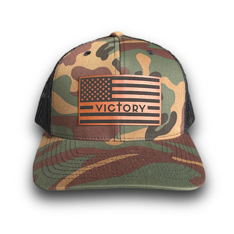 VA Leather Patch Flag Hat (Camo)-Victory Apparel, Inc.