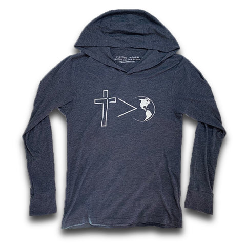 Cross Is Greater Lightweight T-Shirt Hoodie (Vintage Navy)-Victory Apparel, Inc.
