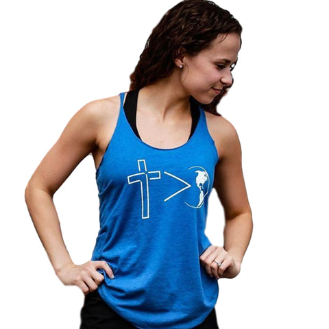 Cross is Greater Women's Tank (Vintage Royal) | Victory Apparel, Inc.