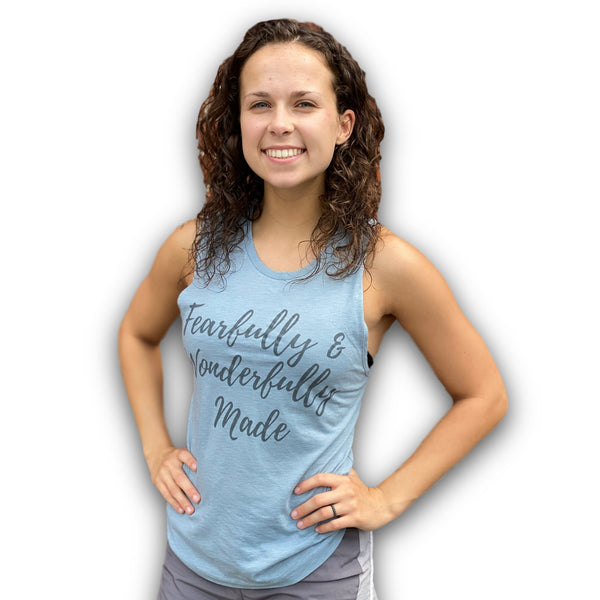 Fearfully & Wonderfully Made Muscle Tank (Stonewash Denim)-Victory Apparel, Inc.