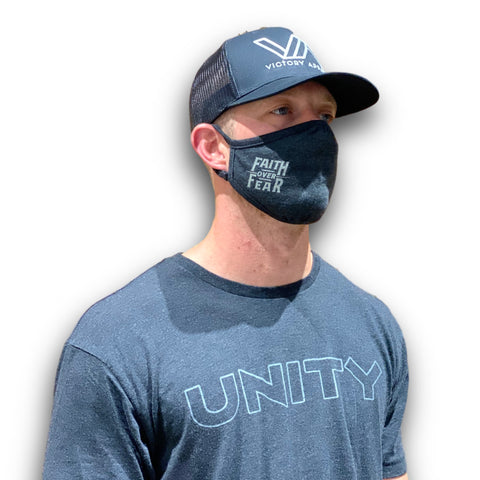 Faith over Fear Mask (Black)-Victory Apparel, Inc.