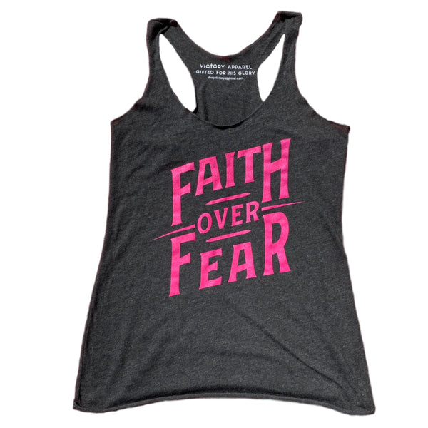 Faith over Fear Women's Tank (Vintage Black/Pink)-Victory Apparel, Inc.