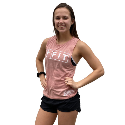 Fit for Christ Women's Muscle Tank (Desert Pink)-Victory Apparel, Inc.
