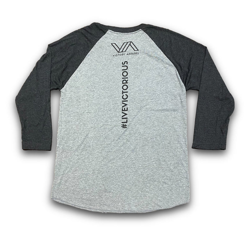 Fit For Christ 3/4 Raglan Tee (Grey/Black)-Victory Apparel, Inc.