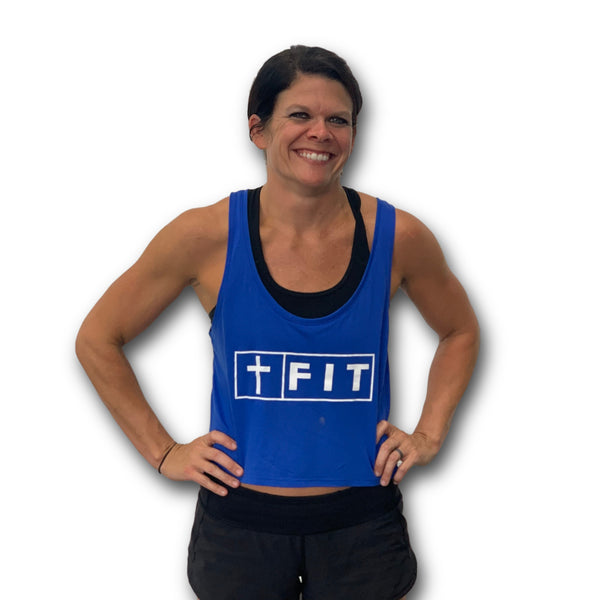 Fit for Christ Women's Crop Tank (Royal)-Victory Apparel, Inc.