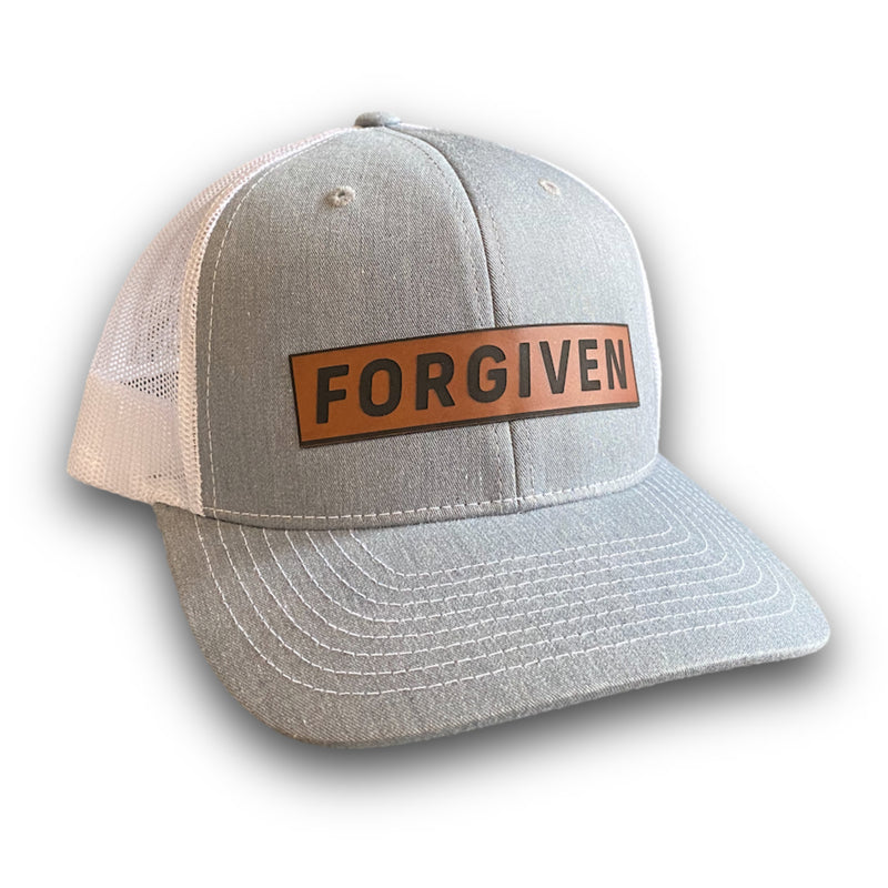 Forgiven Leather Patch Hat (Heather Grey/White)-Victory Apparel, Inc.