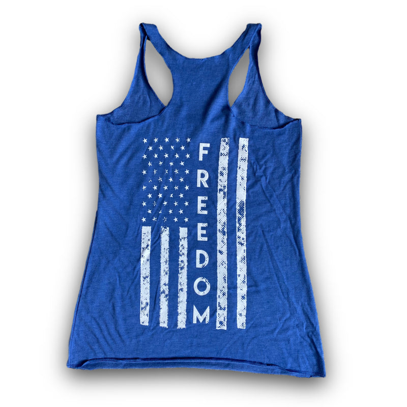Freedom Women's Tank (Vintage Royal)-Victory Apparel, Inc.