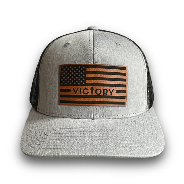 VA Leather Patch Flag Hat (Grey/Black)-Victory Apparel, Inc.