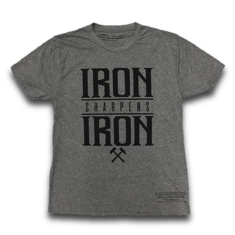 Iron Sharpens Iron Tee (Premium Heather Grey w/ Black Writing) | Victory Apparel, Inc.
