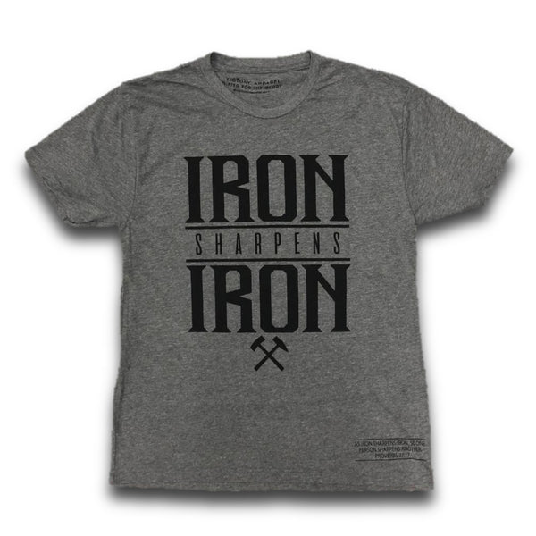 Iron Sharpens Iron Tee (Premium Heather Grey w/ Black)-Victory Apparel, Inc.