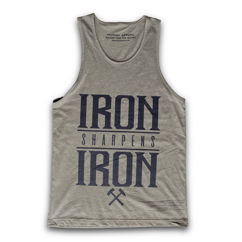 Iron Sharpens Iron Men's Tank (Military Green)-Victory Apparel, Inc.