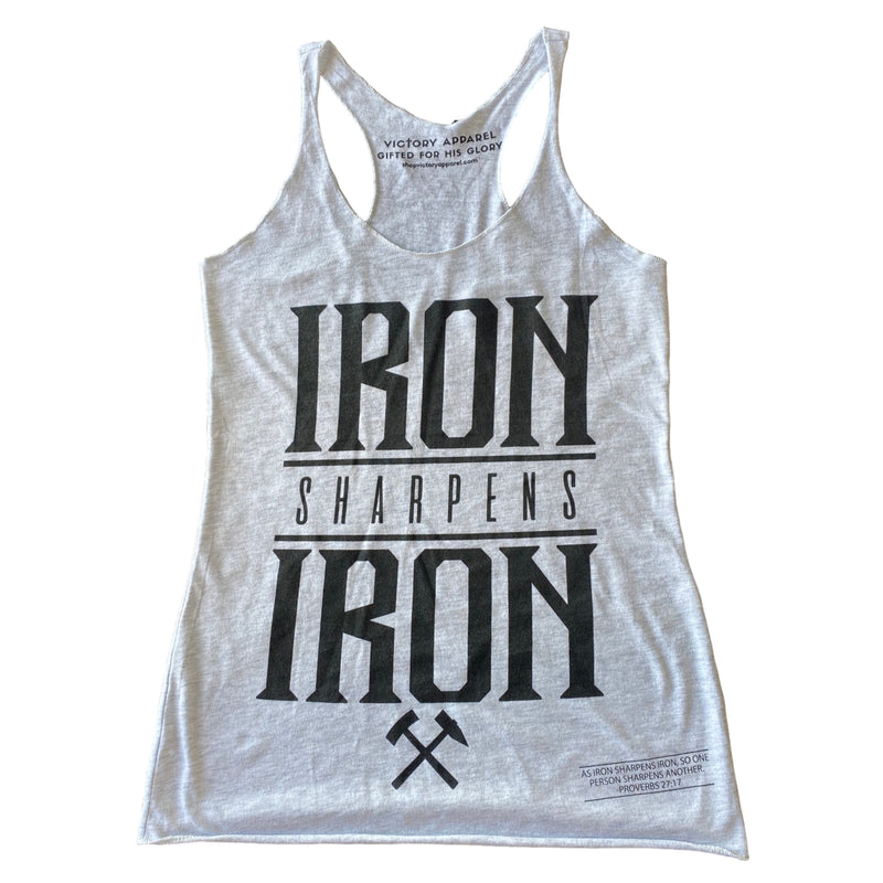 Iron Sharpens Iron Women's Tank (Heather White)-Victory Apparel, Inc.