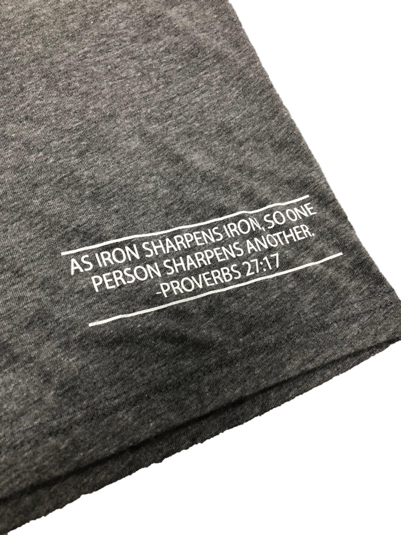 Iron Sharpens Iron Tee (Premium Heather Grey)-Victory Apparel, Inc.