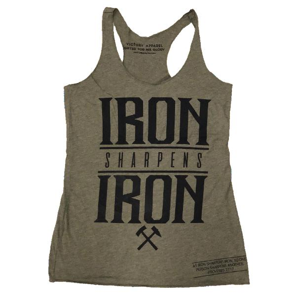 Iron Sharpens Iron Women's Tank (Military Green)-Victory Apparel, Inc.