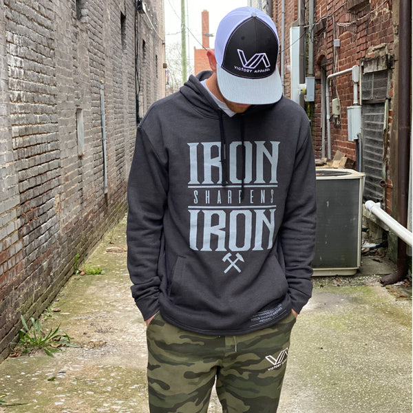 Iron Sharpens Iron Hoodie (Heather Black)-Victory Apparel, Inc.